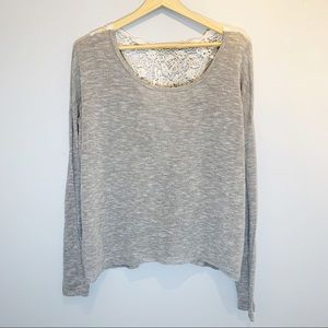 Tops - Grey Light-Weight Top with Crocheted Lace Detail